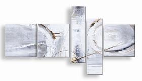 . abstract vijfluik schilderij wit grijs bruin en circels