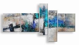 . abstract vijfluik schilderij blauw turquoise grijs