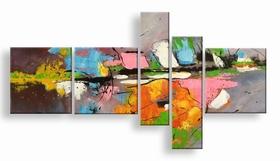 . abstract vijfluik schilderij met kleurrijke verf tinten