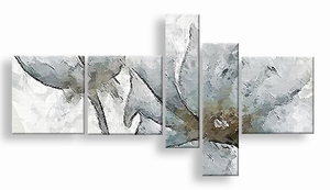 abstract schilderij vijfluik aardetinten bloemen