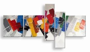 abstract schilderij kleurrijke vlakjes - vijfluik