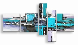 abstract schilderij turquoise look