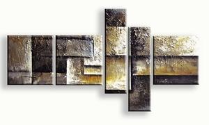 geel modern schilderij vijfluik beauty