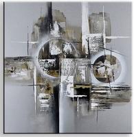 focus abstract schilderij met bruin en grijs