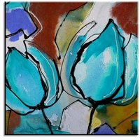 schilderij twee abstracte bloemen turquoise