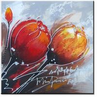 rood oranje abstracte tulpen schilderij