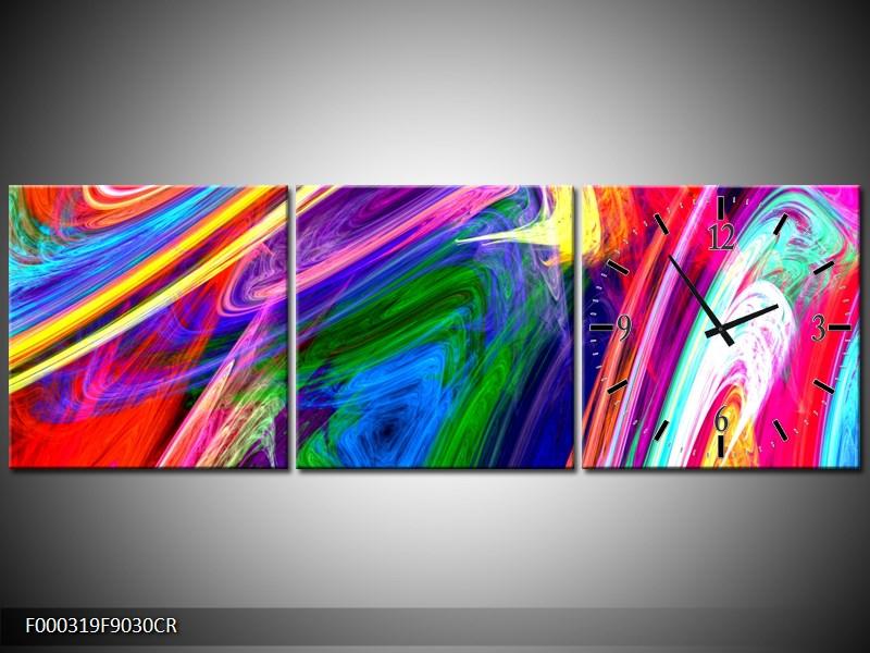Klok wandklok abstract op canvas schilderij