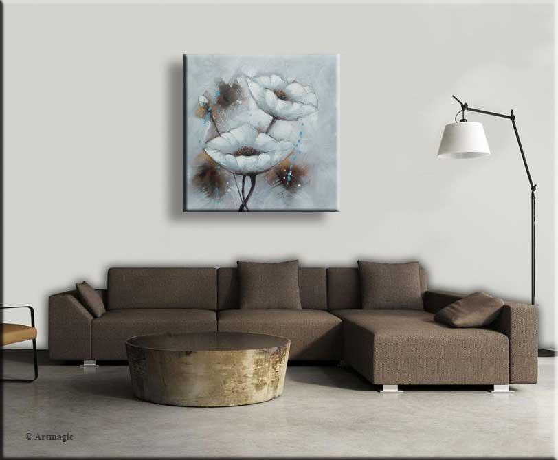 Bloemen schilderij aardetinten wit bruin grijs en blauw
